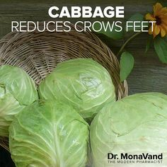 Crow's feet (and other wrinkles) can be a sign that you have high cortisol levels. High cortisol can cause skin cells to break down faster and make wrinkles more prominent. Cabbage is a great way to prevent this!  Cabbage is full of vitamins C and E, and has anti-inflammatory properties. Adding it to your diet will help reduce cortisol, and prevent wrinkles