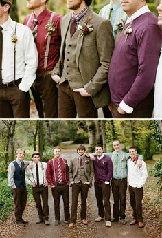 I would love if the groomsmen dressed like this. I love the mixture and combo of textures and colors for wedding.. I hate matchy matchy. This works!