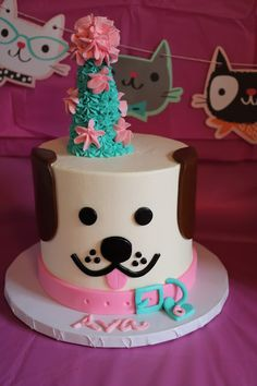 Party Planner: Puppy and Kitty Party Puppy Birthday Cakes, Puppy Birthday Parties, Themed Birthday Cakes, Puppy Party, Birthday Cake Girls, Dog Birthday, Birthday Ideas, Kitty Party, Puppy Dog Cakes