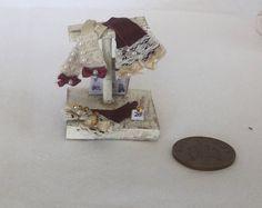 Handmade miniature 1/12th Scale DollsHouse Shop ladies burgundy leather glove shop display stand