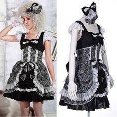 Black and White Lace Cap Sleeve Gothic Lolita Party Dress + Headdress SKU-11402249