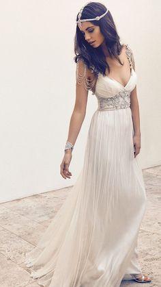 2016 Custom Charming V Neck Prom Dress,Long Chiffon Prom Dress,White Prom Dress
