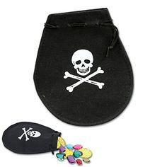 Pack of 12 Canvas with Drawstring Pirate Loot Skull and Crossbones Decorative Party Pouch Black Decoration Pirate, Pouch, Wallet, Skull And Crossbones, Gift Baskets, Pirates, Coin Purse, Christmas Decorations, Packing