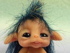 TROLLTRACKS baby elf in nest gobbin fairy troll nobbin OOAK original - Pesquisa Google
