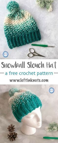 This free crochet pattern combines simple texture with the stunning Lion Brand Scarfie yarn to create a fabulous beginner-friendly hat! The Snowball Slouch Hat takes just half a skein of Lion Brand Scarfie yarn and it is perfect addition for anyone on you Slouch Hat Crochet Pattern, Crochet Mittens, Crochet Gloves, Crochet Beanie, Crochet Gifts, Free Crochet, Knit Crochet, Crocheted Hats, Mittens Pattern