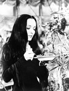 "gothicrealm: "" vintagegal: Carolyn Jones as Morticia Addams on The Addams Family TV show c. Addams Family Morticia, Los Addams, Die Addams Family, Carolyn Jones, Tony Soprano, John Pawson, Walter White, Family Tv, Family Photos"
