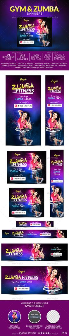 Zumba Banners. Web-elements Banners-ads. Tags adroll, animated banner, banner pack, banner set, banners, business, coupon, deal, discount, fitness, flat design, gif banner, google adwords, gym, marketing, metro design, multi purpose, promotions, retargeting, sales, social media, studio, web banner, and zumba.