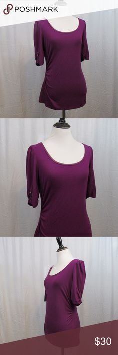 "White House Black Market Purple 1/2 Sleeve Top S Brand: White House Black Market Size: S Material: 95% Rayon 5% Spandex Care Instructions: Machine Wash Bust: 36"" Sleeves: 11"" Length: 22""  Clothes are all measured flat and unstretched. The bust measurement is doubled. If you are unsure of your measurements just pull out your favorite pieces of clothes and measure them. Great way to make sure the clothing will fit you the way you like. All clothes have been inspected and are in excellent used…"