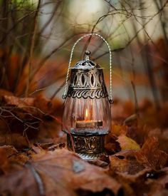 Fall lantern lights the way through the leaves Candle Lanterns, Candles, Autumn Scenery, Autumn Aesthetic, Autumn Cozy, Fall Pictures, Oil Lamps, Samhain, Belle Photo