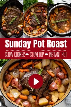 Classic Sunday Pot Roast is an easy to make comfort food that is hearty, filling, and can easily feed the whole family. This recipe includes instructions for a classic oven braise as well as instructions for the slow cooker and Instant Pot. Chuck Roast Recipes, Pot Roast Recipes, Chicken Recipes, Cooking Recipes, Recipe For Pot Roast In The Oven, Slow Cook Pot Roast, Slow Cooker Beef Roast, Easy Crockpot Roast, Healthy Pot Roast