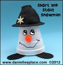 Snowman Short and Stout Cup Craft for Kids