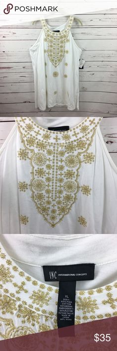 """New INC White Tank Top Gold Embroidered New with tags INC International Concepts white sleeveless tank top with gold embroidery. Size XL. 60% cotton 40% modal.  Underarm to Underarm: 20""""  Top shoulder to bottom: 33""""  1WTT817337 INC International Concepts Tops Tank Tops"""