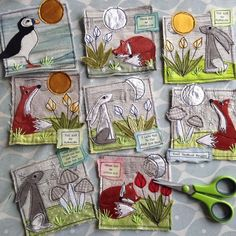 Today I am working on a small stack of cards for Original Kerry in Dingle. ... - embroidery Freehand Machine Embroidery, Free Motion Embroidery, Free Machine Embroidery, Free Motion Quilting, Embroidery Applique, Fabric Postcards, Fabric Cards, Sewing Crafts, Sewing Projects