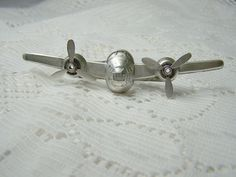 Vintage STEAMPUNK Airplane Tie Clip Bar Clasp  Spinning by SouthernBelleOOAK