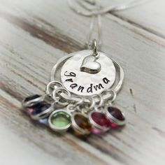Grandma Necklace Sterling Silver Hand Stamped Personalized with Grandchildren Birthstones Hand Stamped Jewelry by TracyTayanDesigns on Etsy