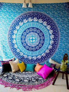 Folkulture Blue Elephant Bohemian Hippie Tapestry Wall Hanging, Ombre Mandala Bedspread for College Dorm Room or Beach Throw, Queen Size Indian Bedding for Bedroom, Includes Pair of Boho Earrings