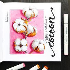 Cotton flowers 🌸 Что-то есть в этом квадратном формате завораживающее. Вроде бы привычнее в а5 рисовать, но все равно тянет на квадрат :) В общем, не смогла бороться с искушением.