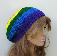 Free shipping ($ 22), One of a Kind retro rainbow free spirit striped tam hat.