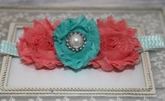 Coral and Aqua Chevron Baby Headband Chevron by EdelweissBowtique, $9.95