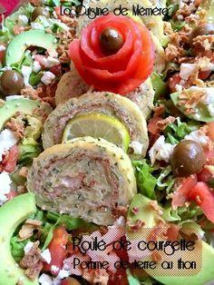 Roulé de courgette, pomme de terre et mousse de thon Veggie Recipes, Healthy Recipes, Hors D'oeuvres, Recipe Images, Buffet, Brunch, Food And Drink, Vegetarian, Vegetables