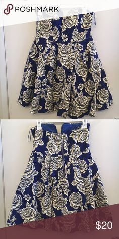 Royal Blue/Gold Party Dress it was worn only once so the condition is perfect. Xtaren Dresses Strapless