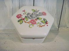 Vintage Avon bird & floral pattern porcelain ceramic jewelry box trinket, avon collectible jewelry box, girls jewelry box hexagonal trinket by HTArtcraftAndVintage on Etsy, $23.75