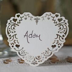 Lace Heart Place Name Card Free Standing