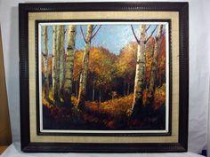 http://stores.ebay.com/mariasantiqueandvintage Vtg Korean Oil on Canvas Painting Signed Yun Hi Soo Birch Trees in Autumn Asian #Asian