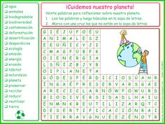 Me encanta escribir en español: ¡Cuidemos nuestro planeta! (sopa de letras) Spanish Worksheets, Spanish Teaching Resources, Science Worksheets, Teaching Ideas, Spanish Classroom, Environmental Science, Social Issues, Insight, Homeschool