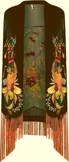 Shawl. Possibly a 20's piano scarf, but if so, incredibly intricate, highly saturated floral that is much more ornate and plush than typical piano scarf.