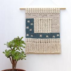 Woven macrame wall hanging / squares by KateAndFeather on Etsy
