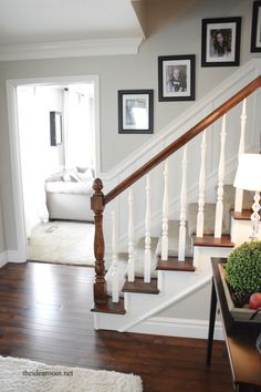 stain-oak-banister 16 PDJ sample for refurbishing my banisters White Banister, Stair Banister, White Stairs, Banisters, Wood Railings For Stairs, Oak Stairs, House Stairs, Banister Remodel, Staircase Makeover
