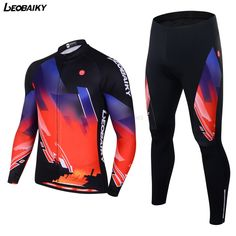 LEOBAIKY Pro Cycling Jersey Set Bicycle Colorful Jacket Men's Bike Trousers Ropa Ciclismo Autumn Cycling MTB Clothing Sportswear