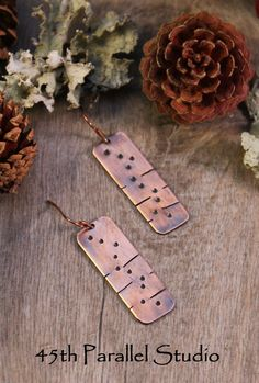 Stamped Copper Earrings by 45thParallelStudio