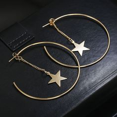 Personality Super Big Circles Hoop Earrings For Women Fashion Gold Color Jewelry - Ohringe Ideen Star Earrings, Round Earrings, Gold Hoop Earrings, Crystal Earrings, Diamond Earrings, Diamond Jewelry, Dangle Earrings, Simple Earrings, Diamond Studs