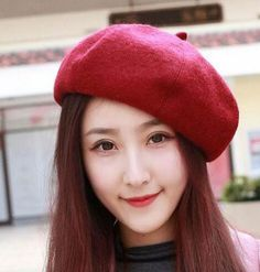 c32c60a9fcb Plain French beret hat for women winter wool hats