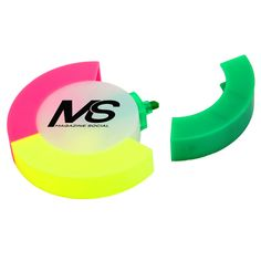 Highlight your brand name with our circular shaped tri-color highlighter set! This unique set and comes with three colored high lighters including pink, yellow and green. Its fun and unique shaped design makes for a one of a kind promotion. A great trade show giveaway or conference tote bag insert, add your custom imprint and use this colorful item during back to school promotions as well!