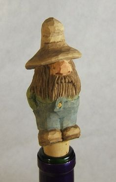 Hand Carved Wood Hillbilly Rufus Bottle by ClaudesWoodcarving, $30.00