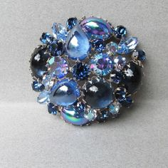 Spectacular Signed REGENCY Blue AB Rhinestone Domed Pin,  BIG 1950's Vintage Cabochon Brooch