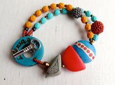 Leben Sie mutig - handgemachte Armband, Türkis Armband, Perlen Armband, Armband orange, Kobalt-Schmuck, Vogel-Schmuck, Songbead, uk
