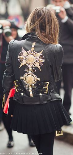 This Balmain Embellished moto Jacket is something that I would wear to work. My dream is to have a career in the fashion business and wearing a beautiful piece such as this leather jacket, would make a fashion forward statement.