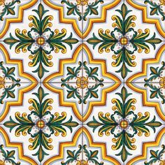"""Castel di Judica"" decor - handpainted 11.8x11.8 inches tiles / piastrelle cm 30x30 decorate a mano"
