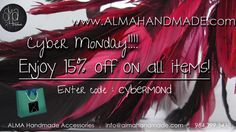 Handmade sale!!!! Starting Sunday @ 12 am go to  almahandmade.com and almahandmadeaccs.etsy.com; use the code CYBERMOND, and get 15% on all items. offer expires on 12/02/13 @ 12 am  #cybermondaysales #cybermonday #cyber #monday #sales #offers #coupon #handmade #handmadejewelry #jewelry #necklaces #bracelets #earrings #pearls #onlinestore #shopping #rings #semiprecious #hanukkah #gifts #presents #holidays #christmas #wish #wishlist