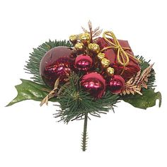 Burgundy Glitter Ball/ Giftbox/Ball Gold Berry/ Fern/Holly Pine Pick