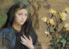 Teodor Axentowicz - Girl and Roses
