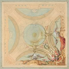 Design for a ceiling with garland bearing putti by Jules Edmond Charles Lachaise