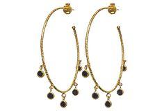 Black Diamond Hoop Earrings on OneKingsLane.com