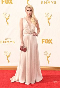 Emma Roberts in custom Jenny Packham at the 2015 Emmys. See what all the stars wore to the ceremony.