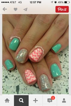 Nail ideas diy nails nail designs nail art get nails, fancy nails, ha Get Nails, Fancy Nails, Love Nails, How To Do Nails, Pretty Nails, Chevron Nails, Coral Chevron, Mint Coral, Coral Turquoise