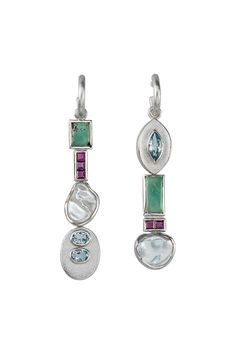 #EARRINGS - STERLING SILVER, TURQUOISE, RUBY, CULTURED PEARL, BLUE TOPAZ